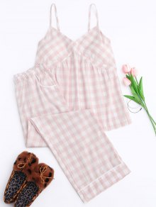 Padded Checked Cami Top with Pants Loungewear