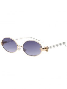 Metal Hand Faux Pearl Nose Pad Oval Sunglasses - Gray