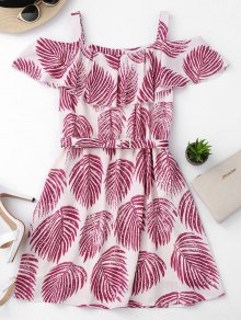 Tropical Cold Shoulder A-Line Dress