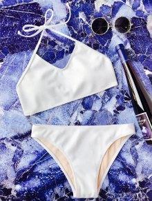 Rib Texture Halter Bralette Bikini Set - White L