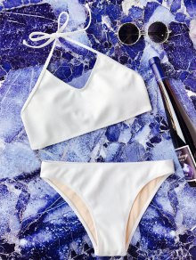 Rib Texture Halter Bralette Bikini Set