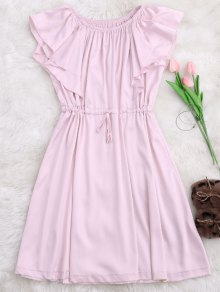 Satin Off Shoulder Drawstring Sleep Dress