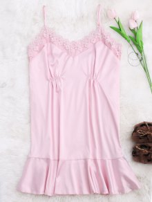 Lace Trim Satin Cami Sleep Dress - Pink S