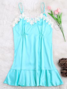 Lace Trim Satin Cami Sleep Dress