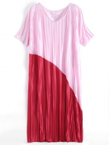 Two Tone Pleated Oversized Maxi Dress