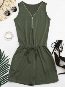 Belted Half Zip Romper - Army Green S