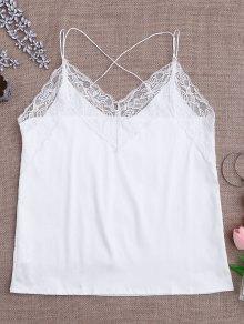 Satin Lace Trim Strappy Cami Sleep Top - White L
