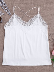 Satin Lace Trim Strappy Cami Sleep Top