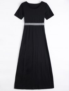 Mesh Panel Side Split Long Dress - Black Xl