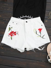 Embroidered Ripped Denim Cutoff Shorts - White M