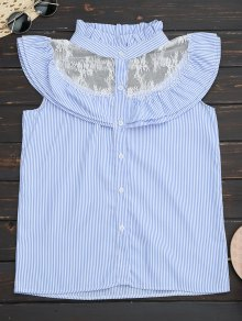 Frilled Striped Lace Inset Sleeveless Shirt