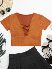 Faux Suede Lace Up Cropped Top