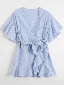 Low Cut Short Striped Wrap Dress - Light Blue S