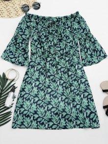 Leaves Print Mini Off Shoulder Dress