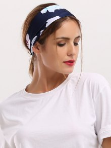 Showy Floral Printed Elastic Wide Headband - Cadetblue