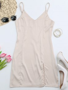Back Zipper Front Slit Club Dress - Apricot S