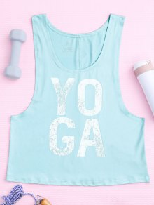 Yoga Dropped Armhole Sports Tank Top - Photo Cyan M