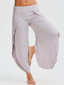 Shirred Waist Tulip Cover Up Pants - Pale Pinkish Grey S