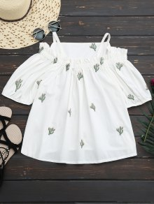 Cacti Embroidered Cold Shoulder Top