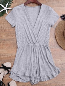 Ruffled Plunging Neck Surplice Romper - Gray S