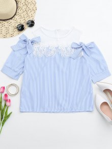 Lace Trim Striped Cold Shoulder Top