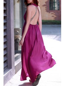 Purple Plunging Neck Backless Maxi Dress - Purple L