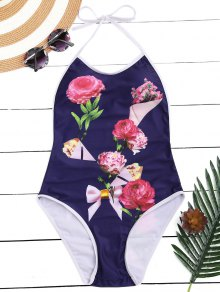 Floral Halter High Leg One Piece Swimsuit