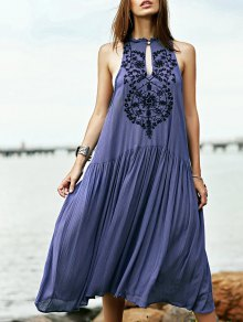 Embroidered Beaded Bohemian Dress - Blue M