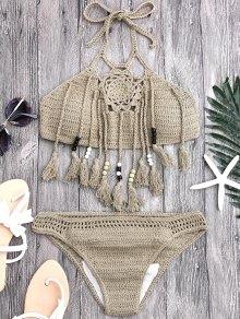 Tassels Beaded Crochet Bikini