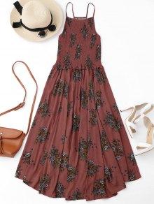 Floral A-Line Smocked Midi Dress - Floral L