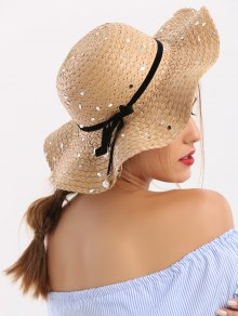 Detachable Ribbon Bowknot Sequin Straw Hat - Coffee