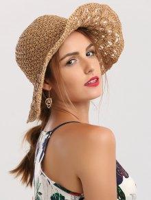 على نطاق واسع بريم للطي الكروشيه قبعة القش - كاكي
