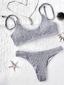 Padded Smocked Bralette Bikini Set - Gray S