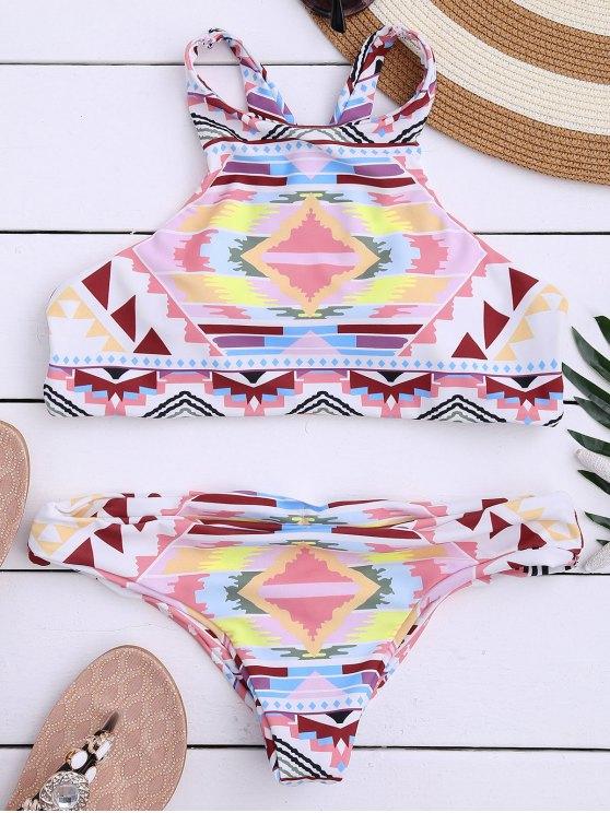 fashion Aztec Print High Neck Bathing Suit - MULTICOLOR S