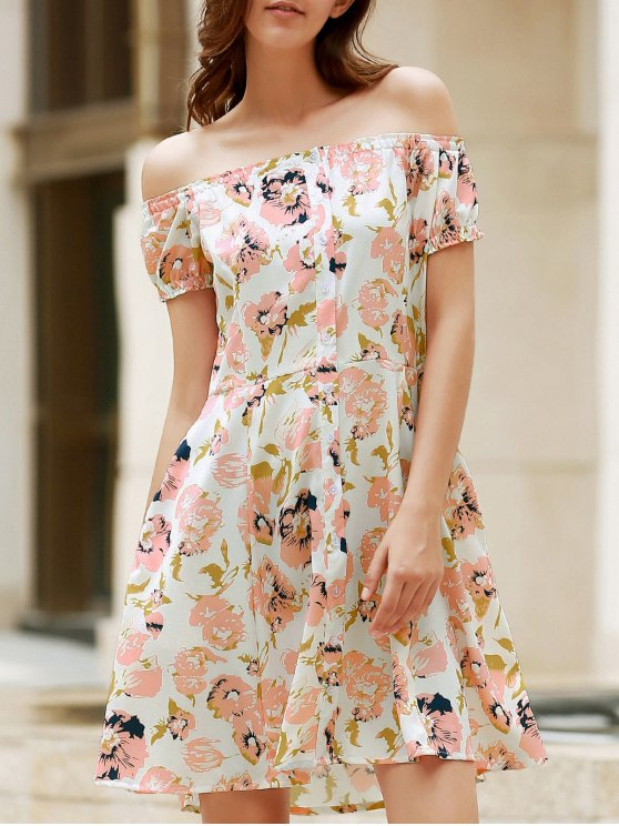 fancy Floral Off The Shoulder Short Sleeve Dress - COLORMIX L