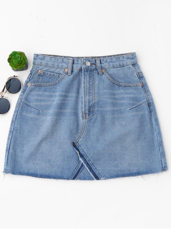 High Waisted Cutoffs Mini Denim Skirt LIGHT BLUE: Skirts S | ZAFUL