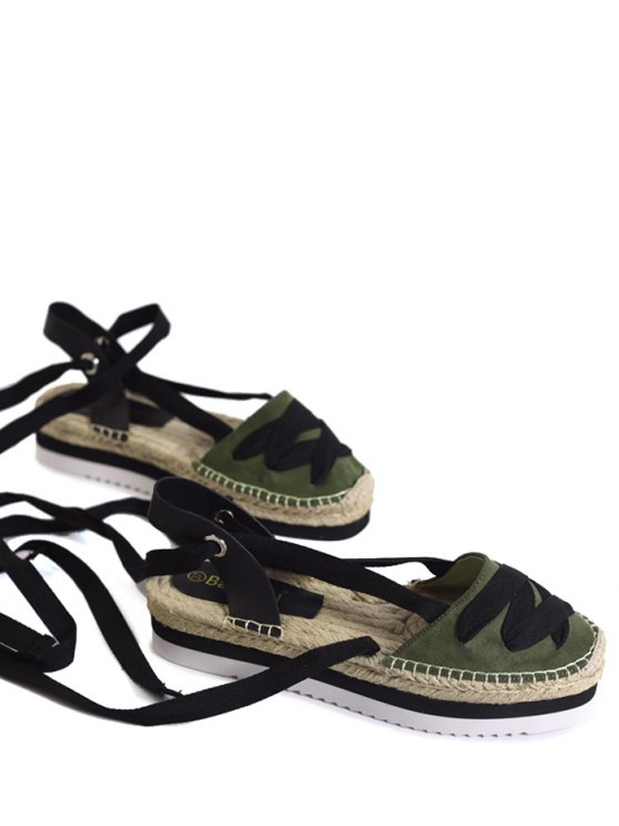 latest Tie Leg Closes Toe Espadrille Sandals - ARMY GREEN 39