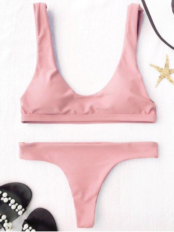 fashion Padded U Neck Bralette Thong Bikini - PINK L