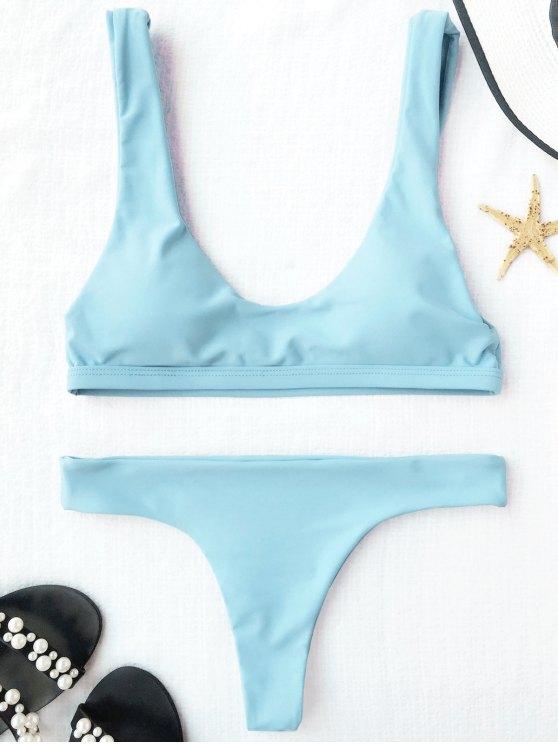 affordable Padded U Neck Bralette Thong Bikini - LIGHT BLUE S