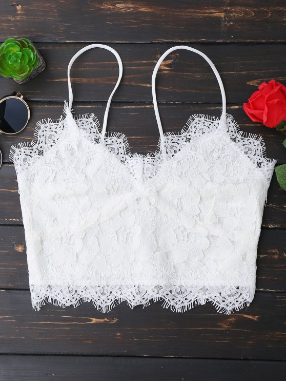 sale Cami Scalloped Lace Tank Top - WHITE S