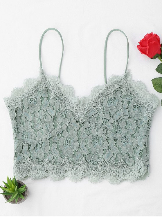 Cami Scalloped Lace Tank Top - Verde claro S