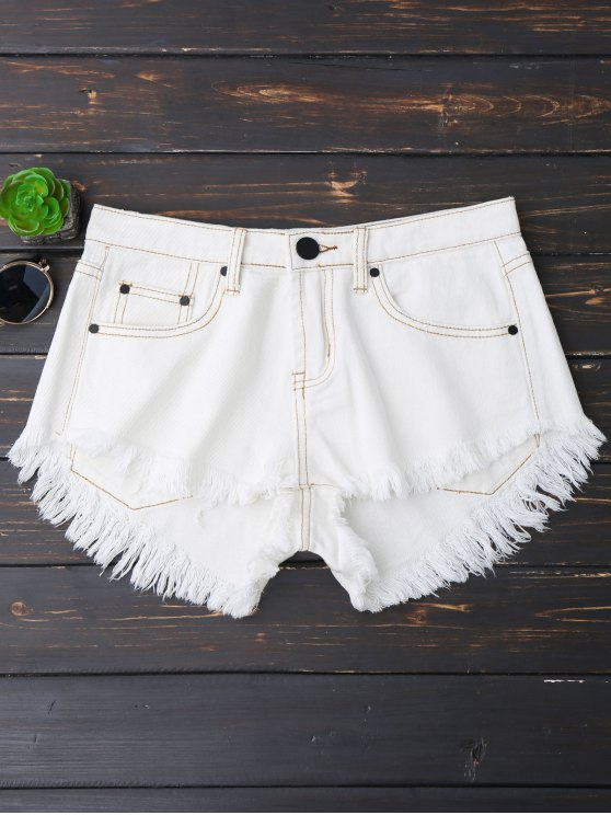 shops Cutoffs High Low Denim Shorts - WHITE S
