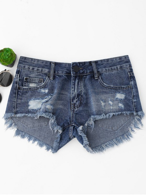 Cutoffs Ripped High Low Denim Shorts - Denim Blue L