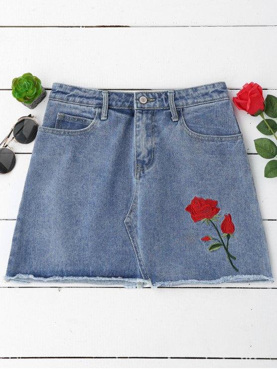 Falda bordada floral del dril de algodón de los cortes de los mini - Denim Blue S