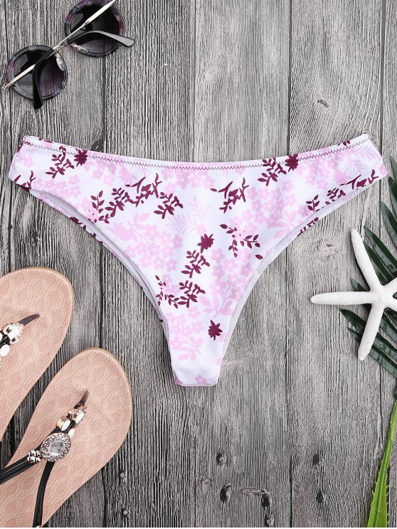 hot Tiny Floral High Cut Thong Swim Bottoms - FLORAL L