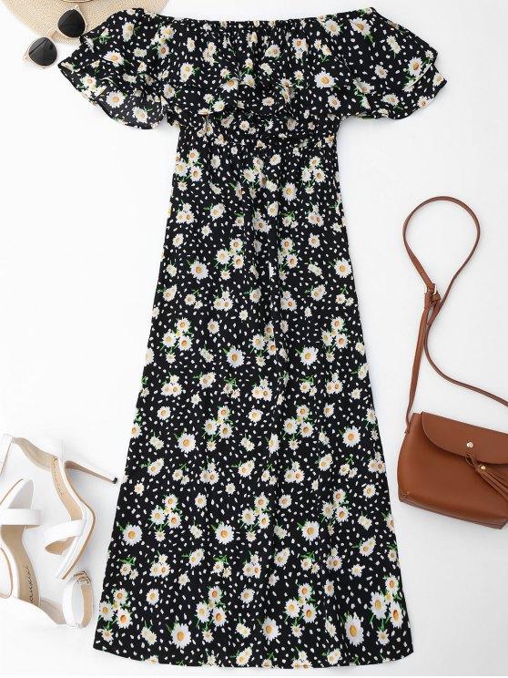 chic Ruffles Floral Off Shoulder Beach Dress - FLORAL M