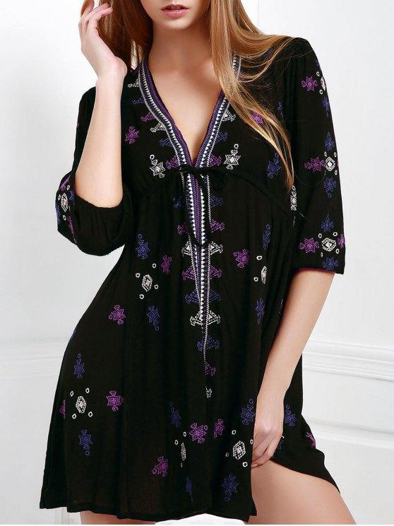 affordable Embroidered Drawstring Design Mini Dress - BLACK M