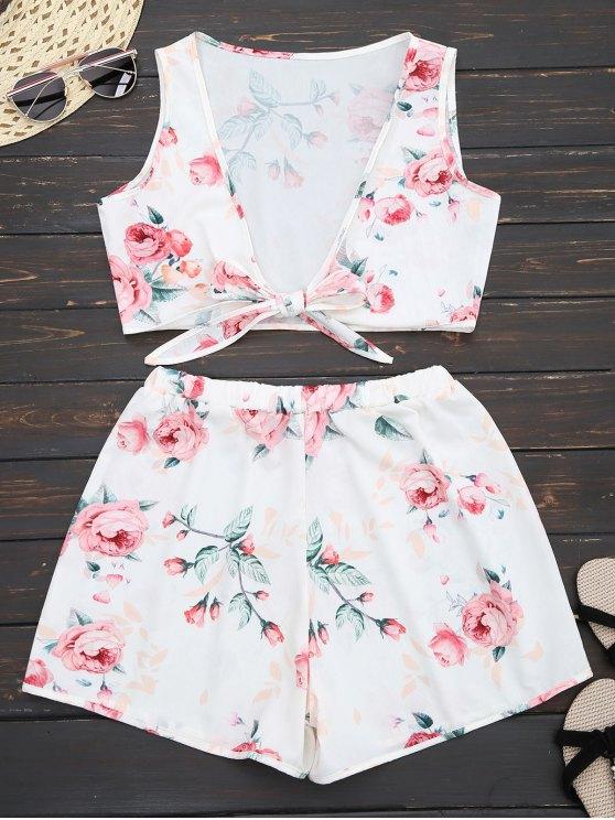 Knot Hem Floral Crop Top y pantalones cortos - Blanco L