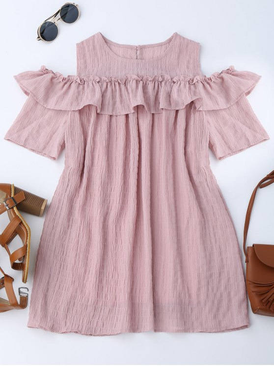 buy Cold Shoulder Ruffle Dress With Crease - PINK S
