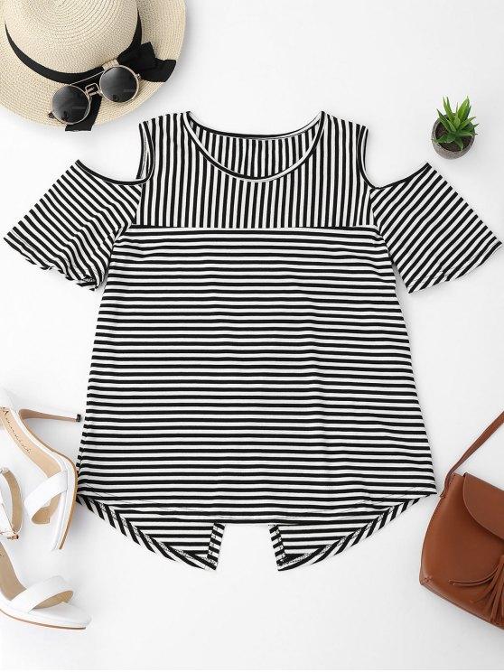 T-shirt à rayures à épaule épaillée à froid - Noir XL